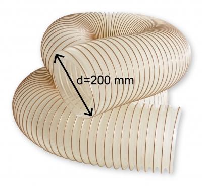 Odsávacia polyuretánová antistatická hadica TPU-Z d=200 mm