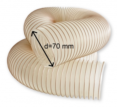 Odsávacia polyuretánová antistatická hadica TPU-Z d=70 mm